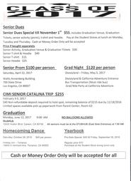 2017 Senior Pricing and Event Information